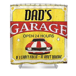 Dad's Garage Shower Curtain by Debbie DeWitt