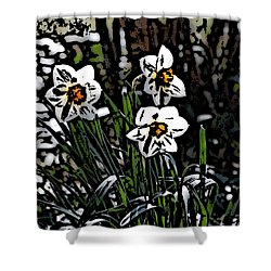 Shower Curtain featuring the digital art Daffodil by David Lane