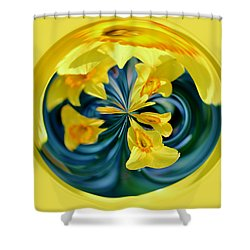 Daffodil Orb Shower Curtain by Cynthia Guinn