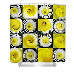 Daffodil Spring Mosaic Shower Curtain by Sarah Loft