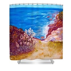 Daffodils At The Beach Shower Curtain by Augusta Stylianou