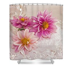 Shower Curtain featuring the photograph Dahlias And Lace by Sandra Foster