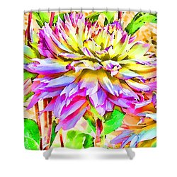 Shower Curtain featuring the photograph Dahlias In Digital Watercolor by Sandra Foster