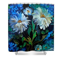 Daisies At Midnight Shower Curtain