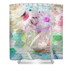 Pot Of Daisies 01a - Du Bonheur En Pot Shower Curtain by Variance Collections