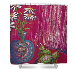 Daisies On Red Table Shower Curtain