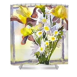Daisies With Yellow Irises Shower Curtain by Kip DeVore