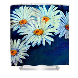 Shower Curtain featuring the pastel Daisy Fever  Pastel by Antonia Citrino