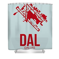 Dal Dallas Airport Poster 4 Shower Curtain by Naxart Studio