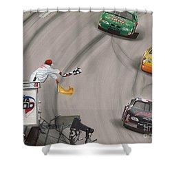 Dale Earnhardt Wins Daytona 500-checkered Flag Shower Curtain by Paul Kuras