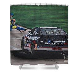 Dale Earnhardt Wins Daytona 500-pit Road Hand Shake Shower Curtain by Paul Kuras
