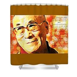 Dali Lama And Man Shower Curtain by Barbara Chichester