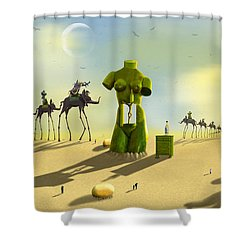 Daliland Park - Panoramic Shower Curtain by Mike McGlothlen