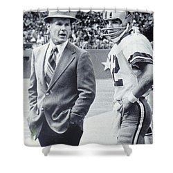 Dallas Cowboys Coach Tom Landry And Quarterback #12 Roger Staubach Shower  Curtain