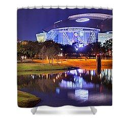 Dallas Cowboys Stadium At Night Att Arlington Texas Panoramic Photo Shower Curtain
