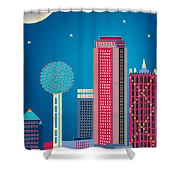 Dallas Nightime Skyline Shower Curtain by Karen Young