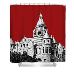 Dallas Skyline Old Red Courthouse - Dark Red Shower Curtain