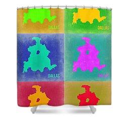 Dallas Pop Art Map 3 Shower Curtain by Naxart Studio