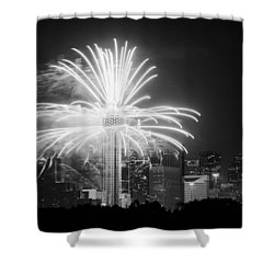 Dallas Reunion Tower Fireworks Bw 2014 Shower Curtain