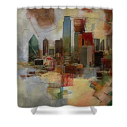 Dallas Skyline 003 Shower Curtain by Corporate Art Task Force