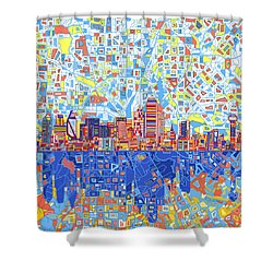 Dallas Skyline Abstract 5 Shower Curtain