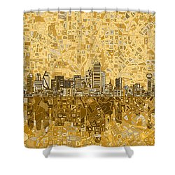 Dallas Skyline Abstract 6 Shower Curtain