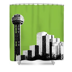 Dallas Skyline Reunion Tower - Olive Shower Curtain