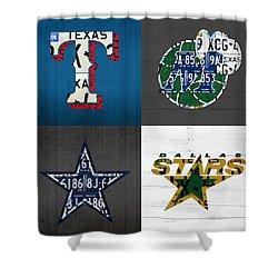 Dallas Sports Fan Recycled Vintage Texas License Plate Art Rangers Mavericks Cowboys Stars Shower Curtain
