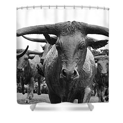 Dallas Texas Pioneer Plaza Longhorn Cattle Drive Bronze Sculpture Black And White Shower Curtain by Shawn O'Brien