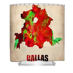 Dallas Watercolor Map Shower Curtain by Naxart Studio