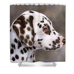 Dalmatian Puppy Painting Shower Curtain by Rachel Stribbling