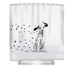 Dalmita Shower Curtain by Angel Ortiz