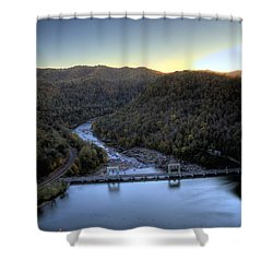 Shower Curtain featuring the photograph Dam Across The River by Jonny D