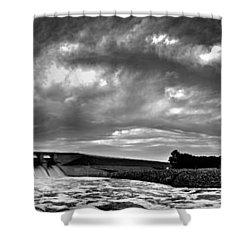 Dam Panoramic Shower Curtain by Brian Duram