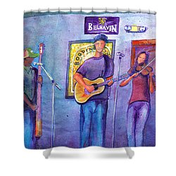 Shower Curtain featuring the painting Damnation At The Cala by David Sockrider