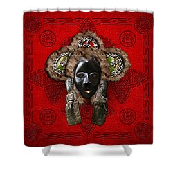 Dan Dean-gle Mask Of The Ivory Coast And Liberia On Red Leather Shower Curtain