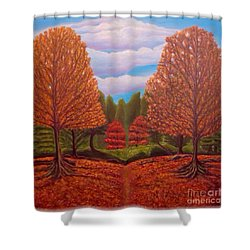 Shower Curtain featuring the painting Dance Of Autumn Gold With Blue Skies Revised by Kimberlee Baxter