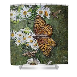 Shower Curtain featuring the painting Dance With The Daisies by Kimberlee Baxter