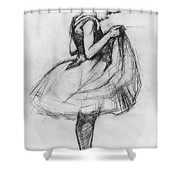 Dancer Adjusting Her Costume And Hitching Up Her Skirt Shower Curtain by Henri de Toulouse-Lautrec