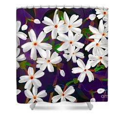 Shower Curtain featuring the digital art Dancing Coral Jasmines by Latha Gokuldas Panicker