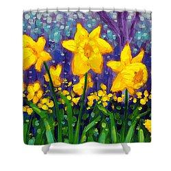 Dancing Daffodils    Cropped Shower Curtain by John  Nolan