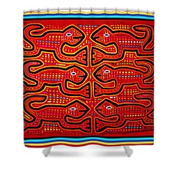 Dancing Geckos Shower Curtain by Vagabond Folk Art - Virginia Vivier