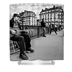 Shower Curtain featuring the photograph Dancing In The Streets Of Paris / Paris by Barry O Carroll