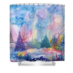 Shower Curtain featuring the painting Dancing Lights by Ellen Levinson