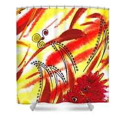 Dancing Lines And Flowers Abstract Shower Curtain by Irina Sztukowski
