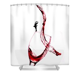Dancing On A Glass Cup With Splashing Wine Little People On Food Shower Curtain by Paul Ge