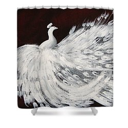 Dancing Peacock Burgundy Shower Curtain