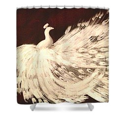 Shower Curtain featuring the painting Dancing Peacock Cream by Anita Lewis