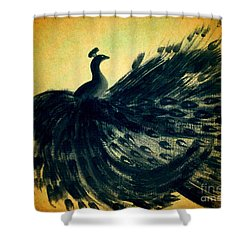 Shower Curtain featuring the painting Dancing Peacock Gold by Anita Lewis
