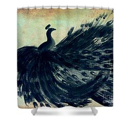 Shower Curtain featuring the painting Dancing Peacock Mint by Anita Lewis